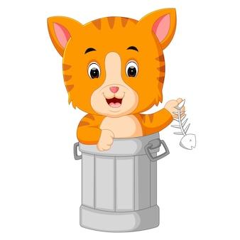 Gato no lixo dos desenhos animados Vetor Premium