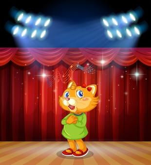 Gato no palco com luzes