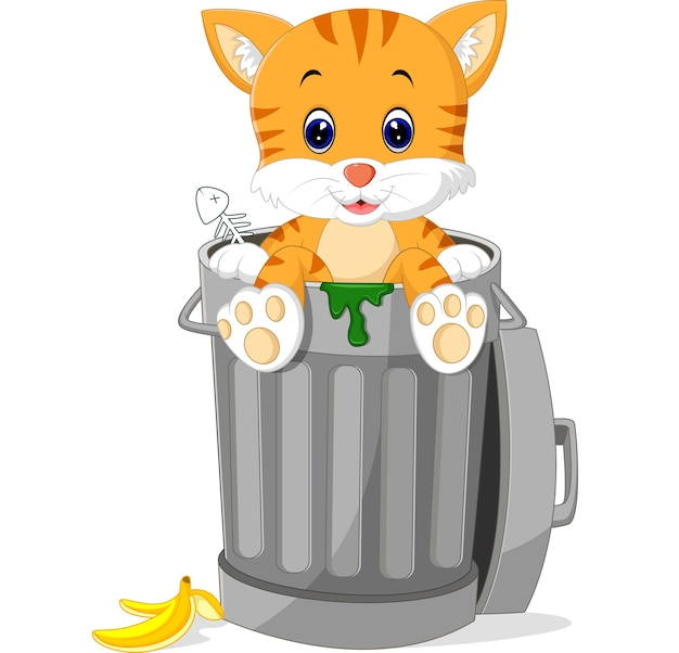 Gato olhando a lata de lixo Vetor Premium