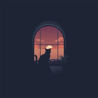 Gato olhando o pôr do sol através de um logotipo de janela