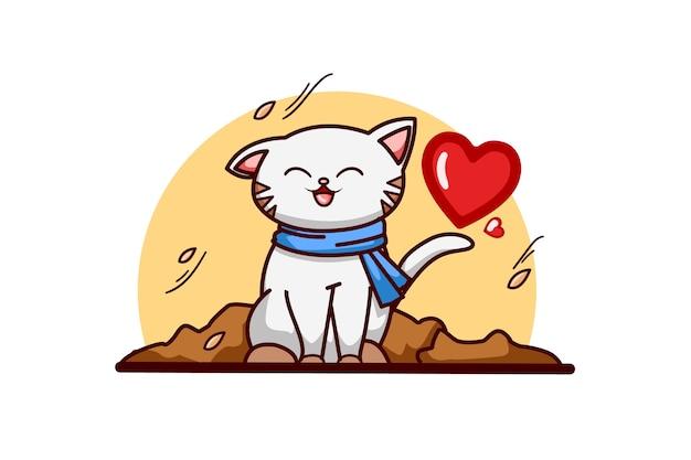 Gato outono com amor
