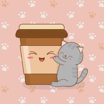 Gato pequeno bonito com café beber kawaii personagem