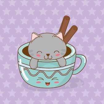 Gato pequeno bonito com caráter de kawaii de xícara de café