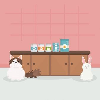 Gato pequeno bonito e coelho em veterinária