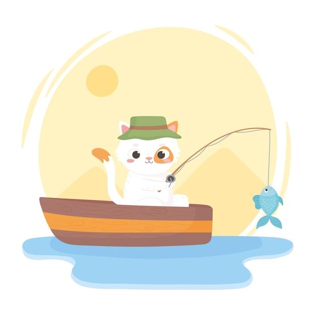 Gato pescando no barco