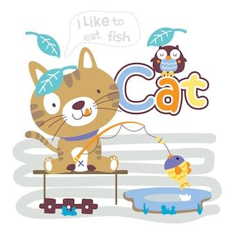 Gato pescando no lago engraçado animal desenho animado