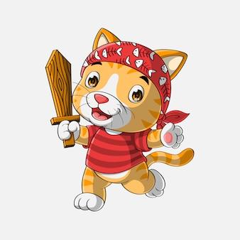 Gato pirata bonito dos desenhos animados mão desenhada
