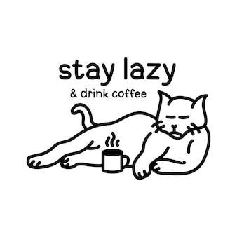 Gato preguiçoso bebe café