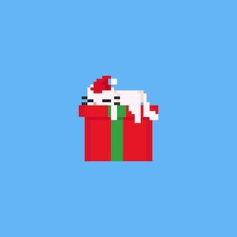 Gato preguiçoso do pixel que dorme na caixa de presente. natal 8bit.