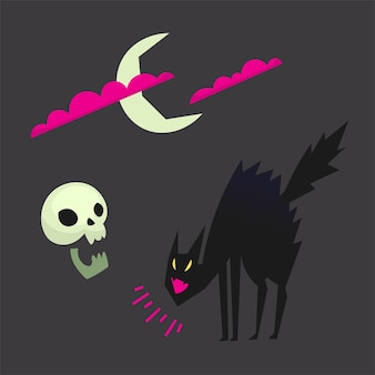 Gato preto assustado gritando e arqueando o crânio e a lua se escondendo atrás das nuvens design de ícones vetoriais