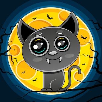 Gato preto com a lua, ilustração de halloween