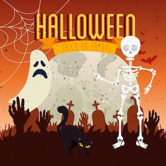 Gato preto com lua e ícones na cena halloween