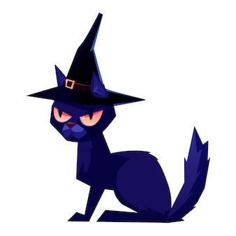 Gato preto com um chapéu de bruxa. ilustração de halloween