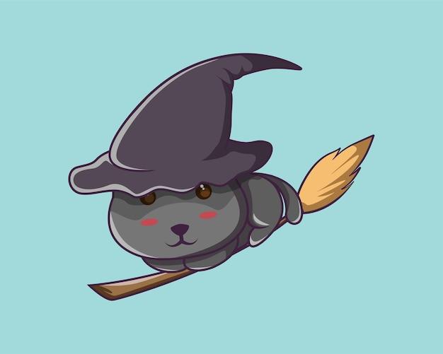 Gato preto de halloween andando de vassoura