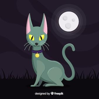 Gato preto de halloween com design plano