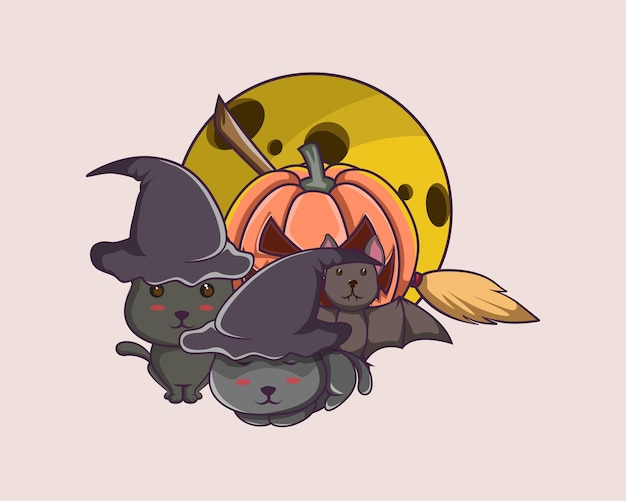 Gato preto de halloween, morcego, lua amarela, cabo de vassoura para pôster, logotipo, mascote