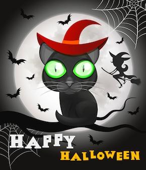 Gato preto de halloween