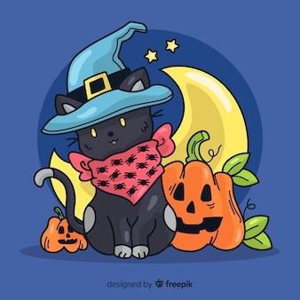 Gato preto de mão desenhada halloween