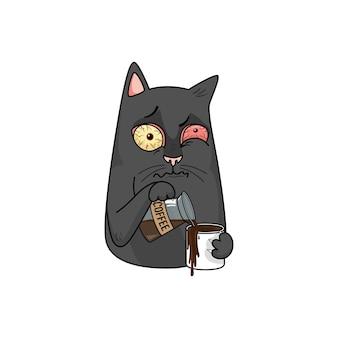 Gato preto de vetor bebe café e derrama a caneca. falta de sono, insônia, estresse, olhos vermelhos.