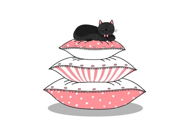 Gato preto dormindo na pilha de travesseiros.