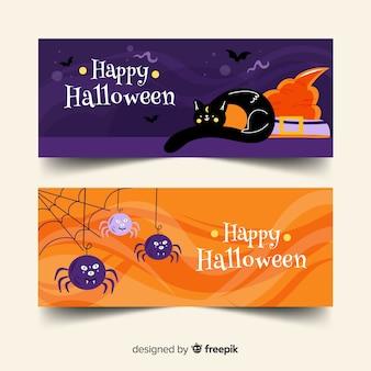 Gato preto e aranhas plana banners de halloween