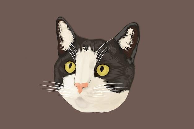 Gato preto e branco realista