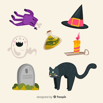 Gato preto e coleção de objetos de halloween