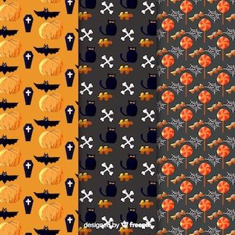 Gato preto e corvo aquarela coleção de padrão de halloween