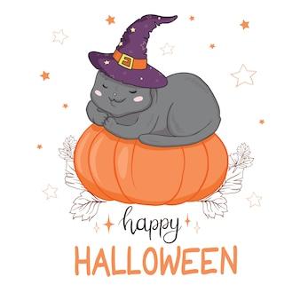 Gato preto em um cartão de abóbora de halloween
