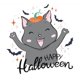Gato preto em uma abóbora de halloween e fantasma