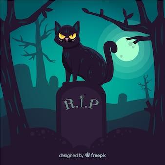 Gato preto em uma mão de lápide desenhada