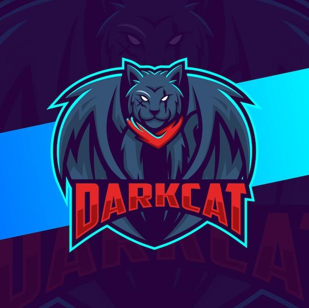 Gato preto escuro com asas mascote esport design de logotipo
