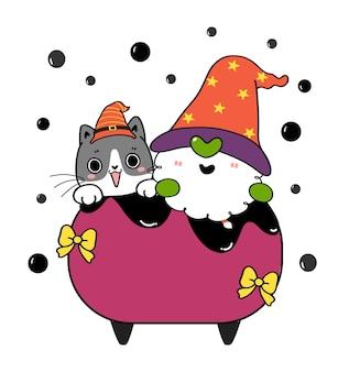 Gato preto fofo e gnomo-bruxa em caldeirão de caldeirão de fabricação de cerveja de veneno desenho de halloween desenhado à mão.