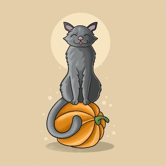 Gato preto fofo e ilustração de abóbora estilo grunge