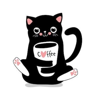Gato preto kawaii com xícara de café. ilustração em vetor fofa