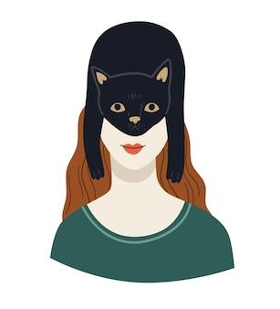 Gato preto na cabeça da garota. donos de animais felizes. ilustração de desenho de personagem vetorial fofa