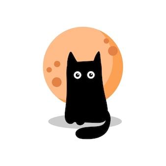 Gato preto no fundo de uma lua cheia laranja. cartão de dia das bruxas