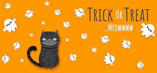 Gato preto, olhando para o espírito de fantasmas voadores ao redor com letras banner trick or treat