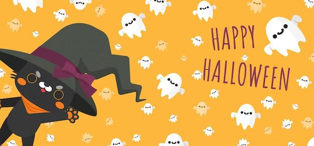 Gato preto usando chapéu de bruxa de halloween fantasiado e espírito fantasmas voadores em torno de banner