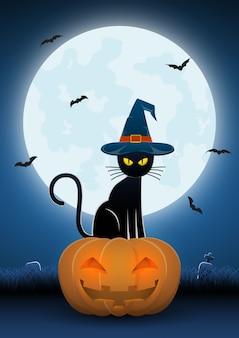 Gato preto usando chapéu de bruxas sentar na cabeça de abóbora