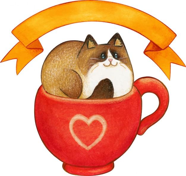 Gato ragdoll aquarela em um copo vermelho com fita