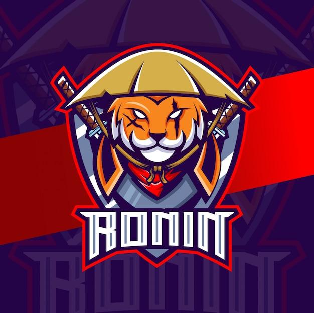 Gato ronin ninja mascote esport logotipo