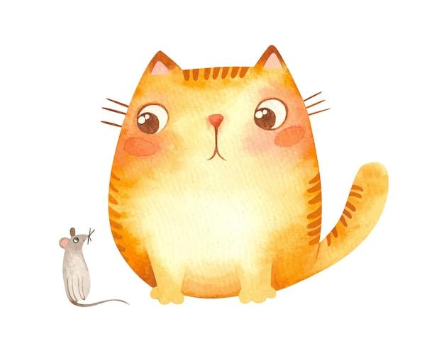 Gato ruivo gordinho olhando preguiçosamente para o rato