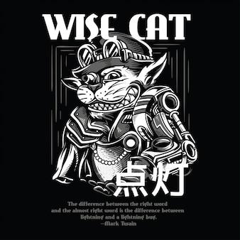 Gato sábio preto e branco