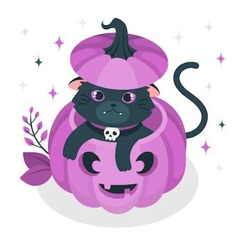 Gato saindo de uma ilustração do conceito de abóbora