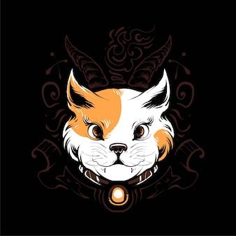 Gato satânico vetor premium, em estilo cartoon moderno, perfeito para camisetas ou produtos impressos