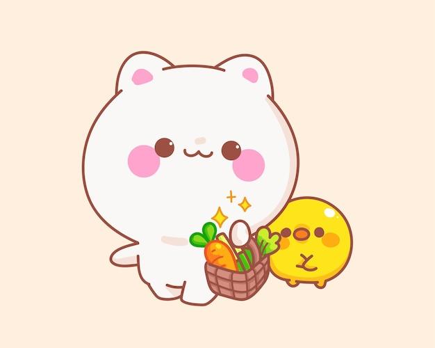 Gato segurando cesta de vegetais com ilustração de desenho de pato