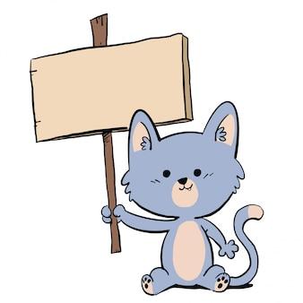 Gato segurando um cartaz anunciando algo