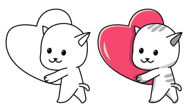 Gato segurando uma página para colorir de coração vermelho para crianças