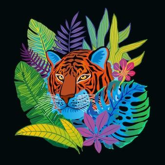 Gato selvagem cabeça de tigre na selva colorida. floresta tropical deixa o desenho de fundo. mão desenhada personagem arte ilustração